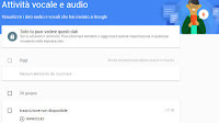 La cronologia dei comandi vocali registrati come file audio da Google