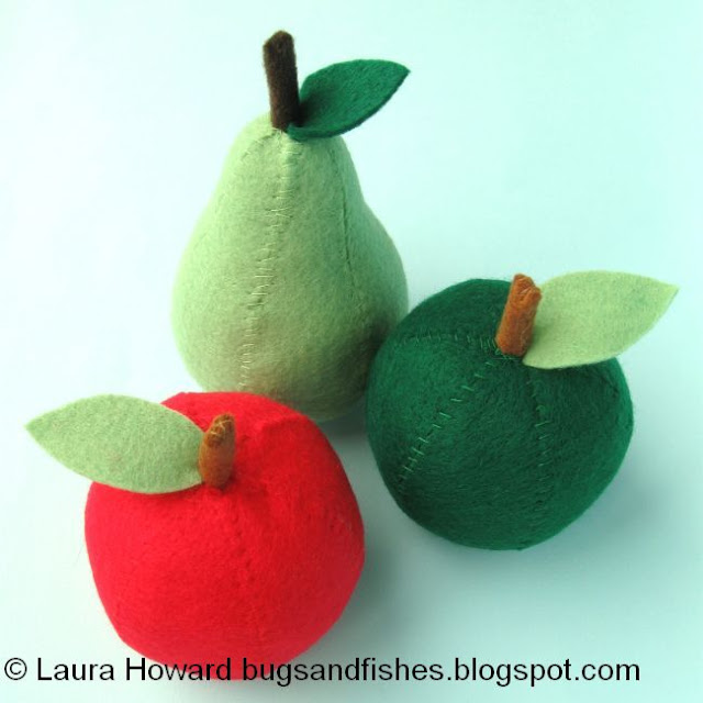 Felt apples and pear