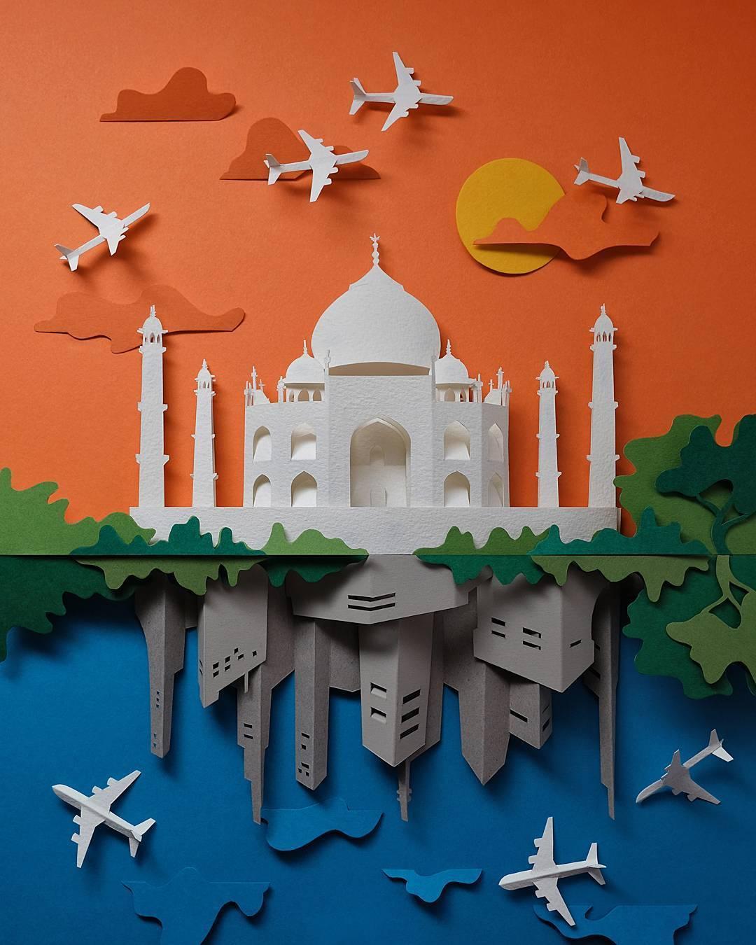 paper cut illustration taj mahal