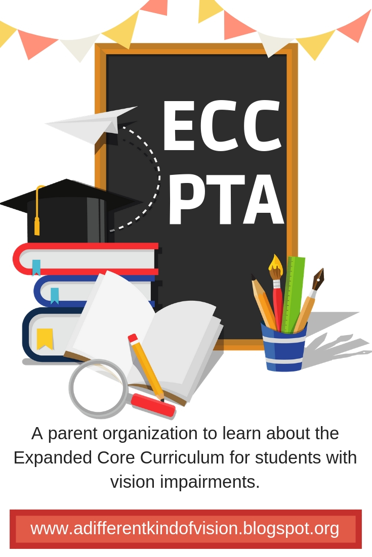 Graphic that says ECC PTA on a chalkboard with school books.
