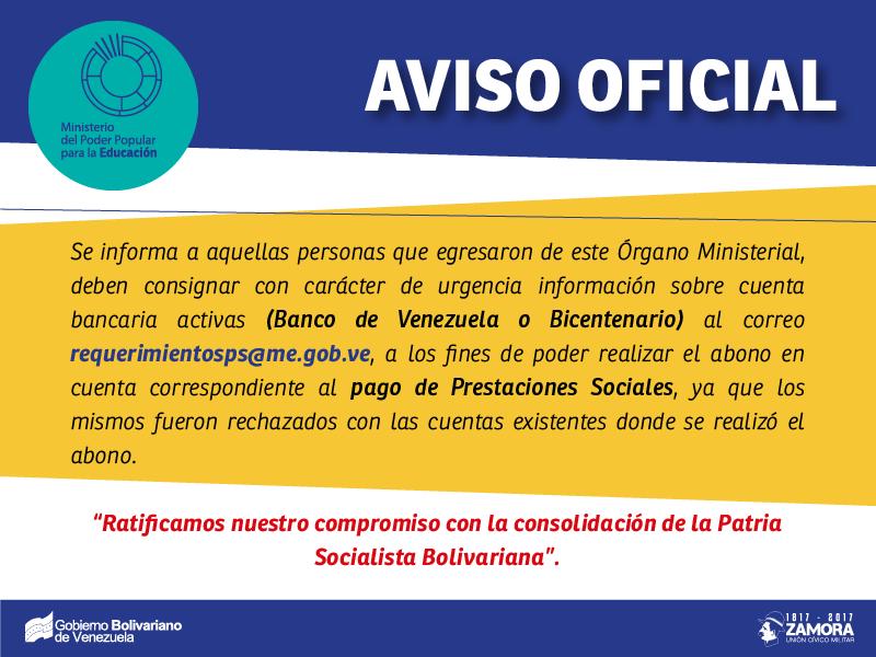 Aviso Oficial: Urgente. PERSONAL PENDIENTE POR CUENTAS BANCARIAS URGENTE