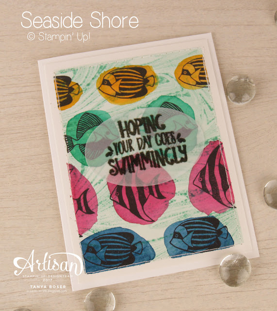 Seaside Shore and Marbled stamps from Stampin Up were used to create this bright and bold card. Need a demonstrator? You can find me by clicking on this photo!