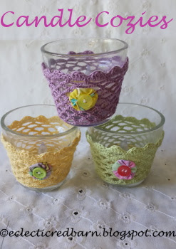 Eclectic Red Barn: Candle Cozies :Could you use a little spring decor, cute favors, tealight holders?  You can get a free crochet pattern to create your own