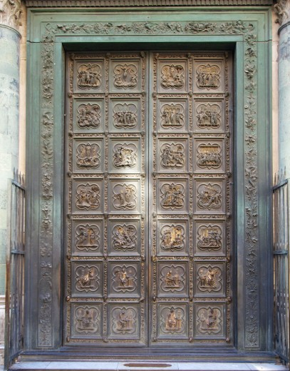 The beautiful bronze doors which weigh 8 tons were made by Lorenzo Ghiberti between 1402 and 1424. & New Tuscan Experience Blog: North Doors of the Baptistery in ...