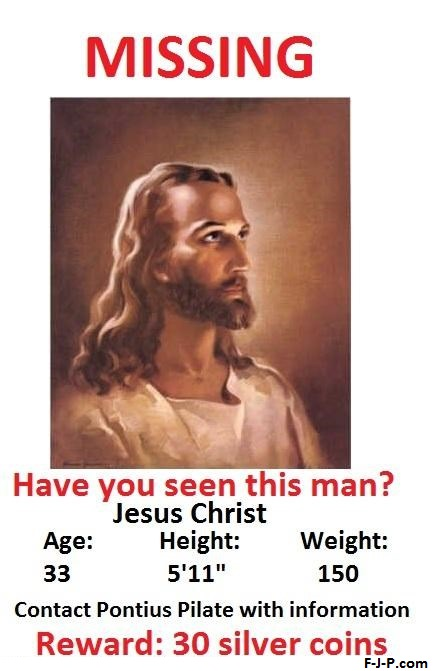 Funny Jesus Christ Missing Joke Poster on Periodic Table Puns
