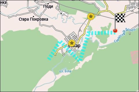 Маршрут показан на карте в виде пунктира