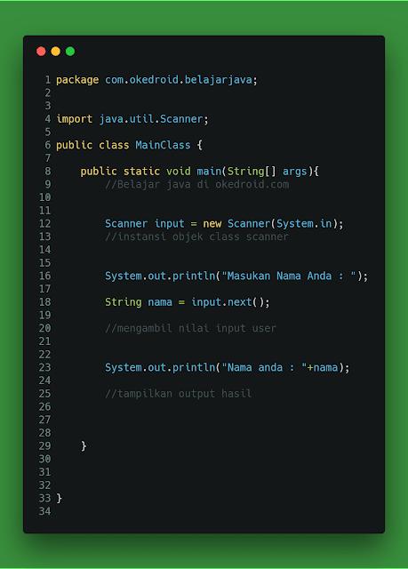 Contoh Code Method .next() class Scanner Java