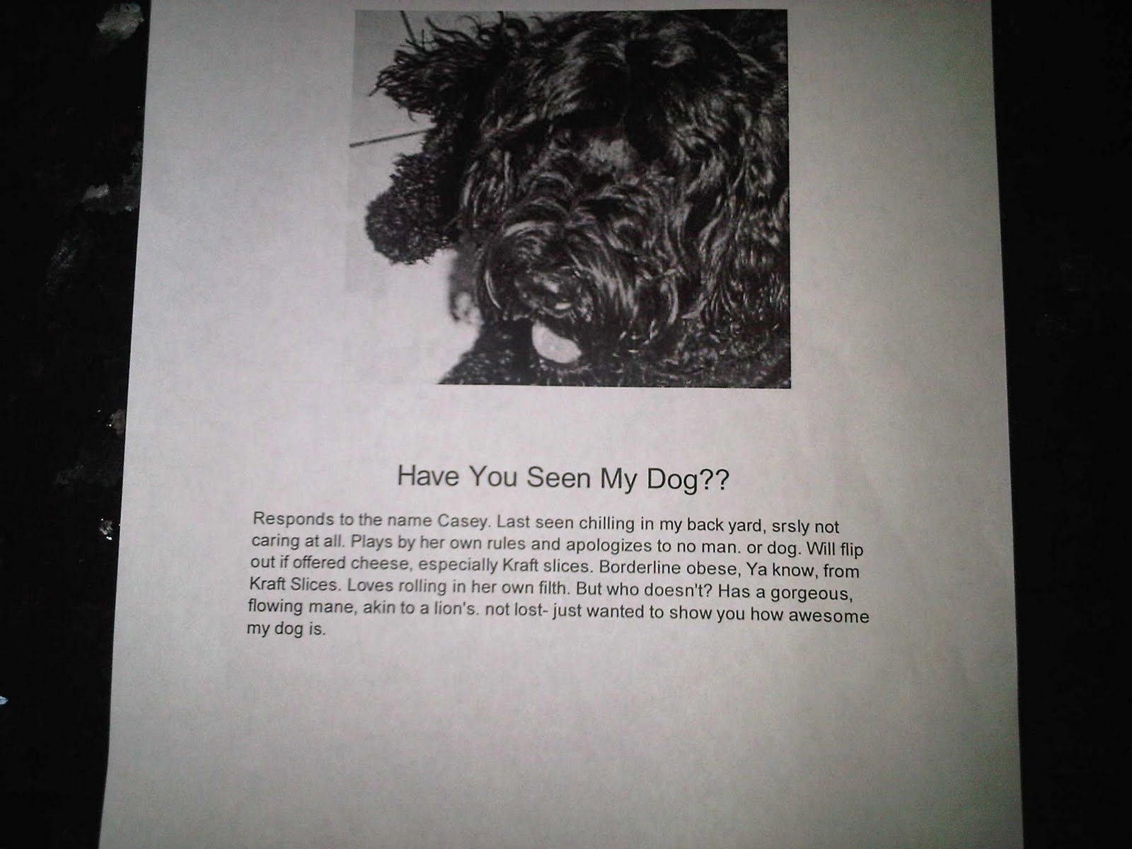 [SLUGLIST]: Have you seen my dog?