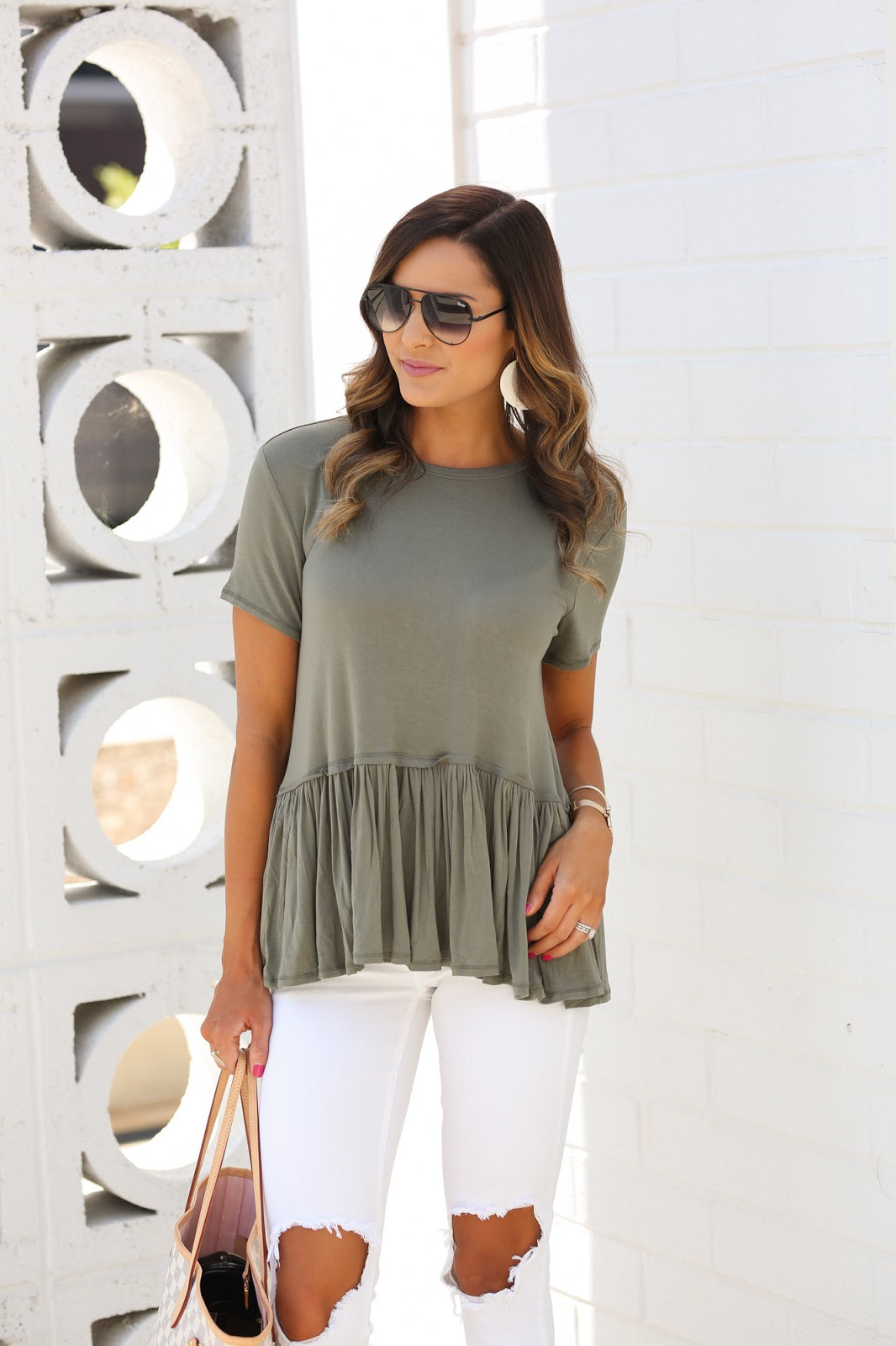 4a38bf0bdf9770 Top: Mason Peplum Top in Olive Green Also Available in Light Pink, Navy,  and Black // Pants: Busted Knee White Skinny Jeans Also Available Here //  Shoes: ...