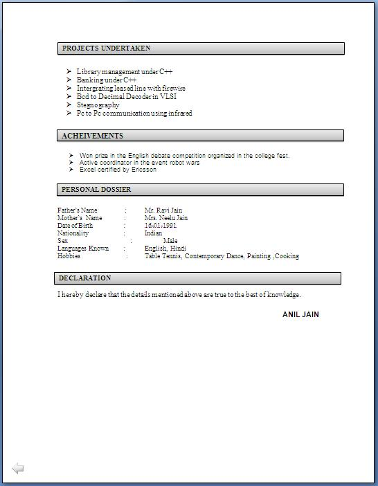 Example Of Fresher Resume For It