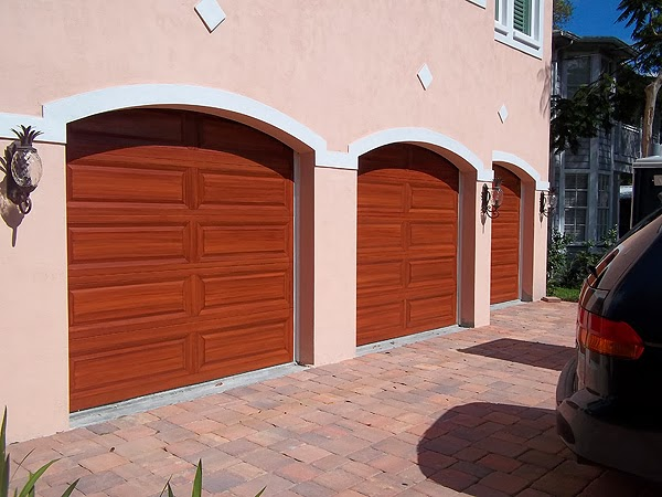 garage doors painted to look like wood