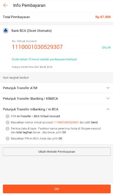 Info Pembayaran via ATM yang Dicek secara Otomatis oleh Shopee