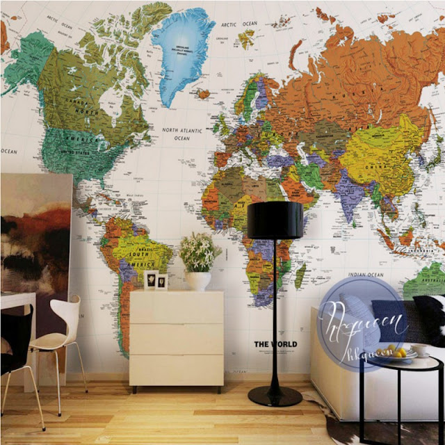 World Map Wall Mural Wall Wallpaper