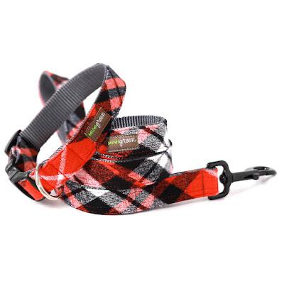 GREEN RED FLANNEL PJS DOG COLLAR