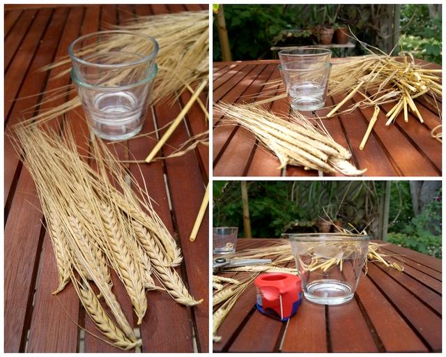 DIY Material Teelichtglas mit Getreide Ähren bekleben