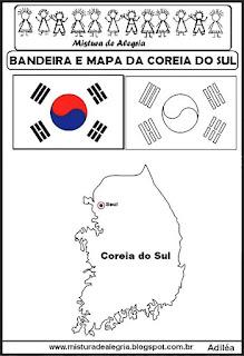 Bandeira e mapa da Correia do Sul