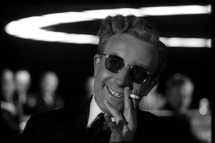 Peter Sellers as the crazed Dr. Strangelove in Stanley Kubrick's film.