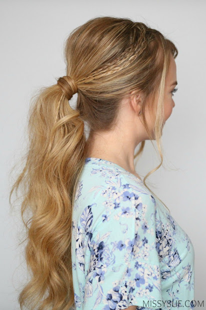 triple lace braid ponytail hairstyle