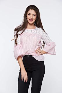 Bluza dama LaDonna roz deschis casual din bumbac cu maneci clopot1