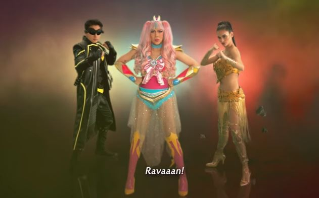 Daniel Padilla as Rappido, Vice Ganda as Gandarra and Pia Wurtzbach as Kweenie in Revengers Squad