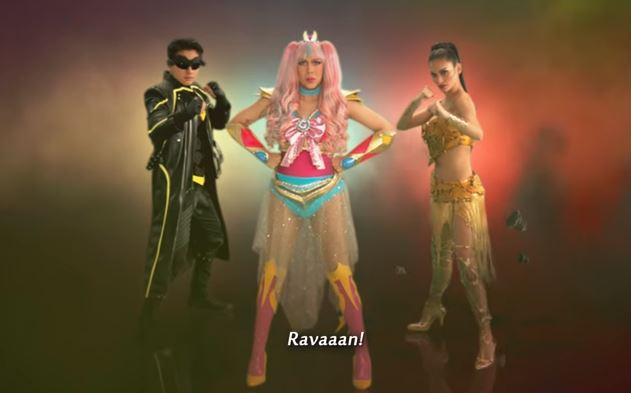 Daniel Padilla as Rappido, Vice Ganda as Gandarra and Pia Wurtzbach as Kweenie in Revengers Squad