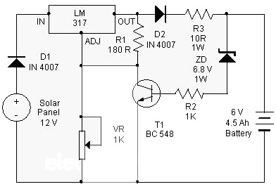 Solar Charger use IC LM317 Circuit Schematics