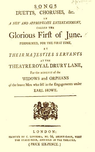 The Glorious First of June - 1794 - Nancy Storace