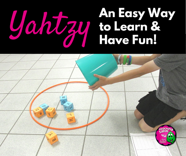Yahtzy: An Easy Way to Learn & Have Fun - Are you looking for a way to keep students engaged in math or language arts? Yahtzy games are easy to set up and use!  A freebie is included in the post.