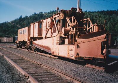 Southern Pacific Jordan Spreader #4047 in Oakridge, Oregon, in 1996