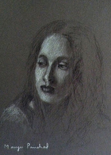 A portrait study of a woman from India on gray toned paper, By Indian artist Manju Panchal