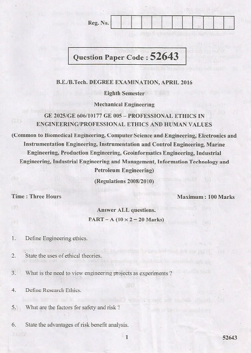 GE2025 Professional Ethics in Engineering April 2016