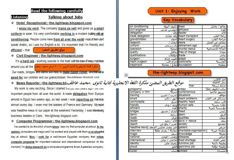 حمل مذكرة اللغة الانجليزية للصف الثانى الثانوى  وورد , مستر محمد عاطف , منهج انجليزى جديد