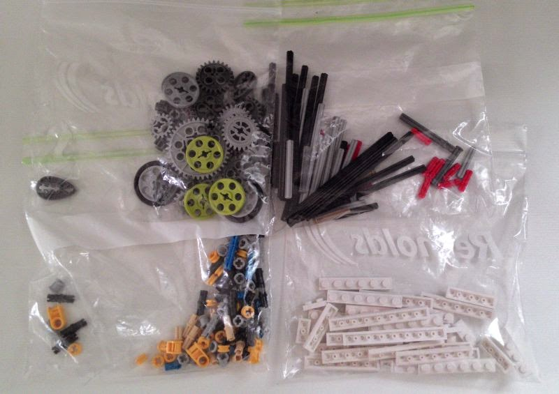 LEGO parts stored in resealable plastic bags