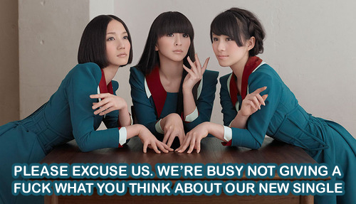 "Perfume don't give a f**k what you think about ""Spending all my time"" 