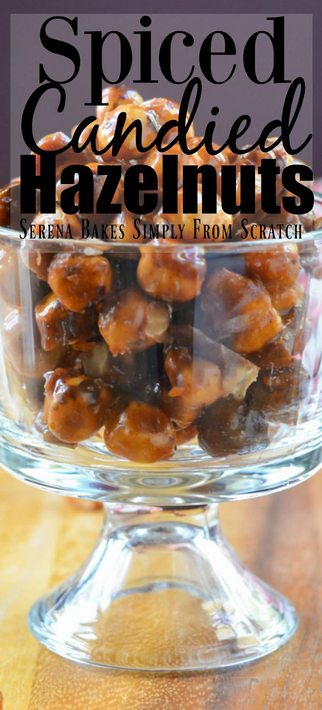 Spiced Candied Hazelnuts Recipe are delicious on salad, or for a dessert topping from Serena Bakes Simply From Scratch