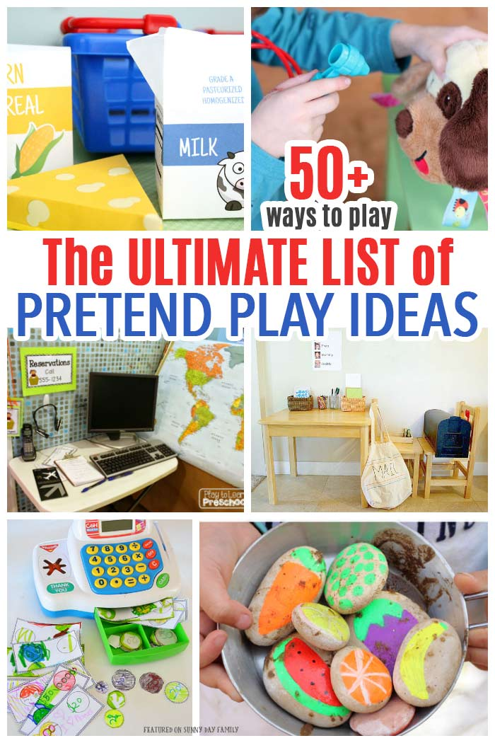 Pretend play ideas for kids including dramatic play, props, costumes and more! #pretendplay #dramaticplay #preschool #forkids