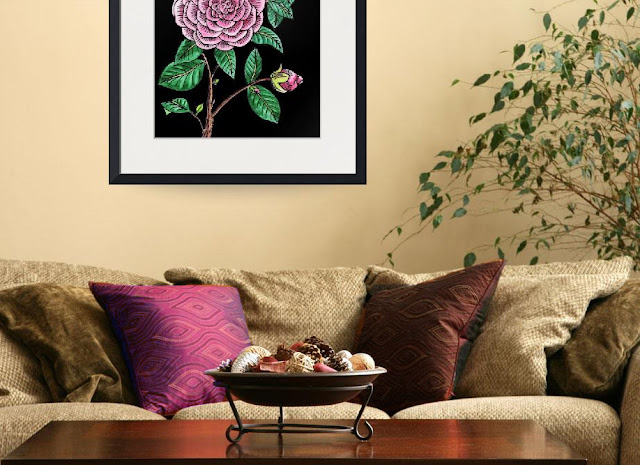 Camellia Botanical Watercolor Flower painting in interior decor