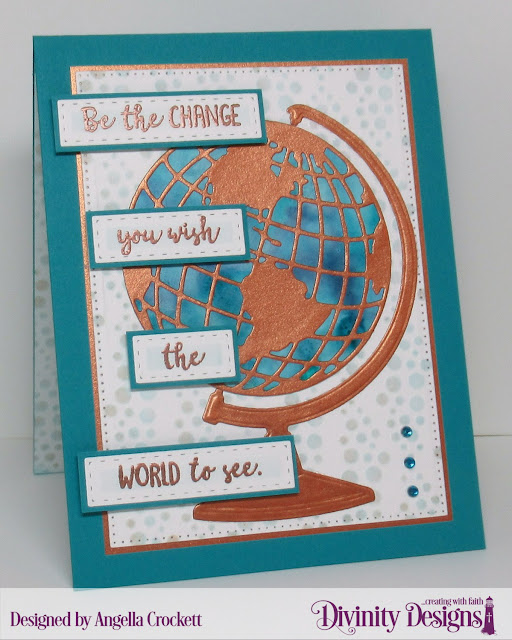 Divinity Designs: Color My World, Globe and Stand Dies, Bubbles Stencil, Log Cabin Quilt Die, Pierced Rectangles Dies, Card Designer Angie Crockett