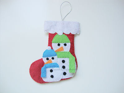 Bota navideña en fieltro con 2 muñecos de nieve