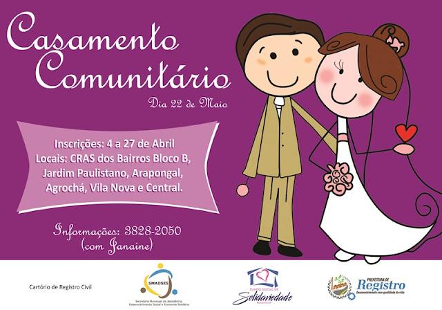 Prefeitura de Registro-SP receberá inscrições para Casamento Comunitário