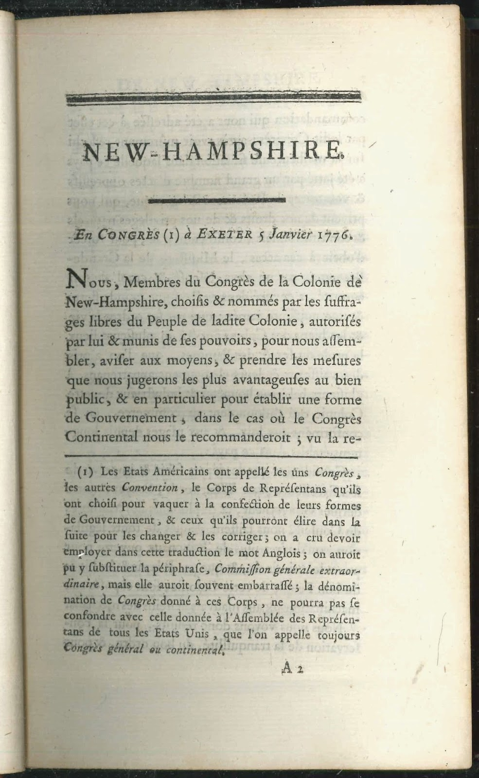 """A page of printed text in French, with the heading """"New Hampshire."""""""