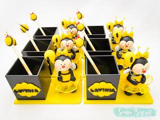 abelhinhas, abelha, biscuit, lapis, porta lapis