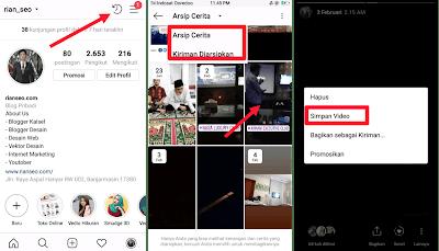 Cara Menyimpan Foto dan Video Instagram Stories yang di Arsipkan ke Memory HP