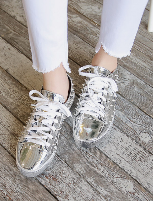 Stud Lace-Up Pleather Sneakers