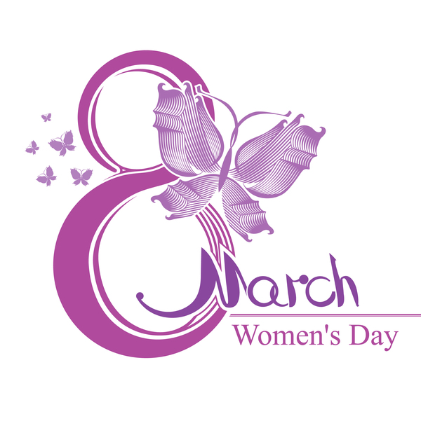 Women Day design 8 March with purple butterfly free vector