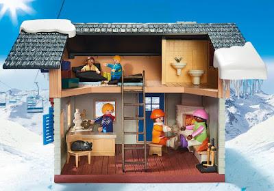 PLAYMOBIL Family Fun - 9280 Cabaña de esquí | Casa de la montaña con nieve | 2018 COMPRAR JUGUETE - TOYS - JOGUINES detalle interior casa