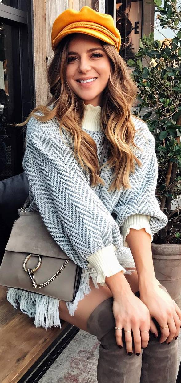 trendy outfit idea / hat + nude bag + high neck sweater dress + grey over knee boots