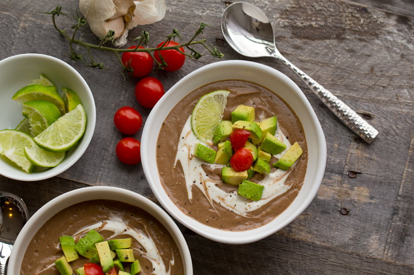 Black Bean Mushroom Soup with Avocado