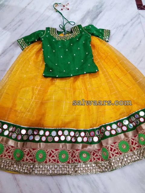 Stripes Lehenga Cold Cut Sleeves Blouse