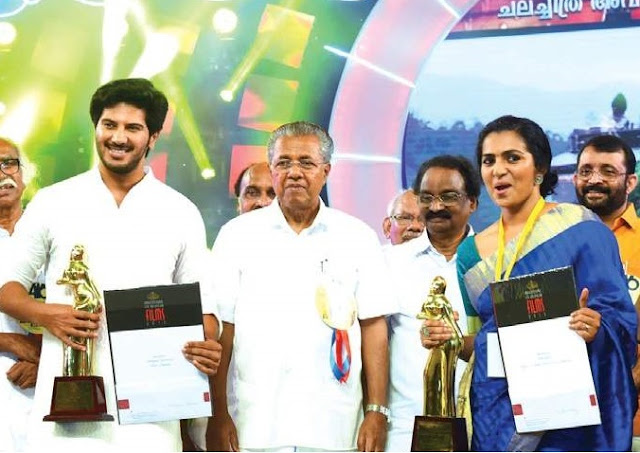 Best Actors Dulquar Salman and Parvathy at the Kerala State Film Awards 2015